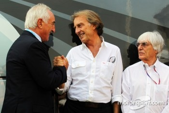 Alberto Bombassei, Brembo CEO with Luca di Montezemolo, Ferrari President and Bernie Ecclestone, CEO Formula One Group