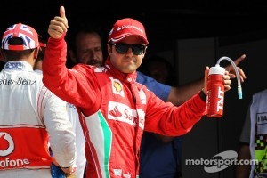 Felipe Massa, Ferrari celebrates his third position in qualifying