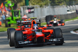 Charles Pic, Marussia F1 Team leads team mate Timo Glock, Marussia F1 Team