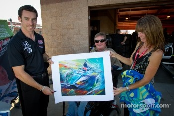 Simon Pagenaud, Schmidt/Hamilton Motorsports Honda and Sam Schmidt with a painting