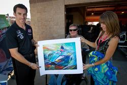 Simon Pagenaud, Schmidt/Hamilton Motorsports Honda and Sam Schmidt with a painting