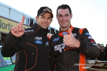 Shane Van Gisbergen and Luke Youlden celebrate pole