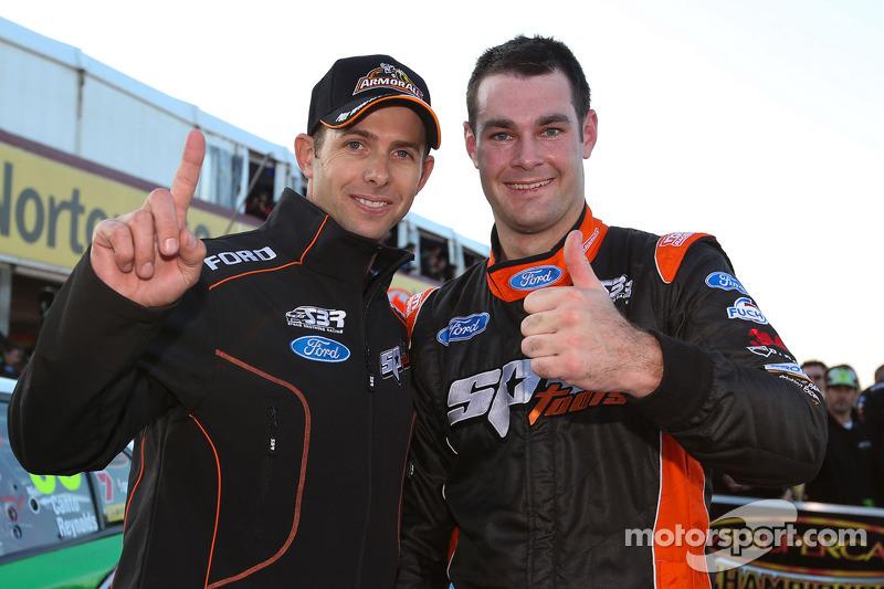 Shane Van Gisbergen and Luke Youlden celebrate pole
