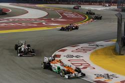 Nico Hulkenberg, Sahara Force India F1 leads Sergio Perez, Sauber