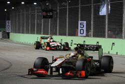 Narain Karthikeyan, HRT F1 Team HRT leads team mate Pedro De La Rosa, HRT Formula 1 Team