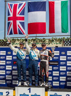 Race 1 Podium: winner Yvan Muller, second place Robert Huff, third place Norbert Michelisz