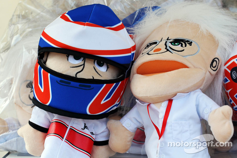 Jenson Button, McLaren and Bernie Ecclestone, CEO Formula One Group, hand puppets on sale