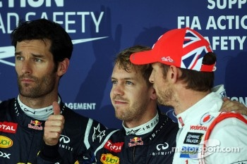 Pole winner Sebastian Vettel, Red Bull Racing, second place Mark Webber, Red Bull Racing, third place Jenson Button, McLaren