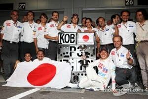 Kamui Kobayashi, Sauber celebrates his third position with the team