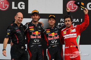 Adrian Newey, Red Bull Racing Chief Technical Officer with 1st place Sebastian Vettel, Red Bull Racing 2nd place Mark Webber, Red Bull Racing and 3rd place Fernando Alonso, Scuderia Ferrari