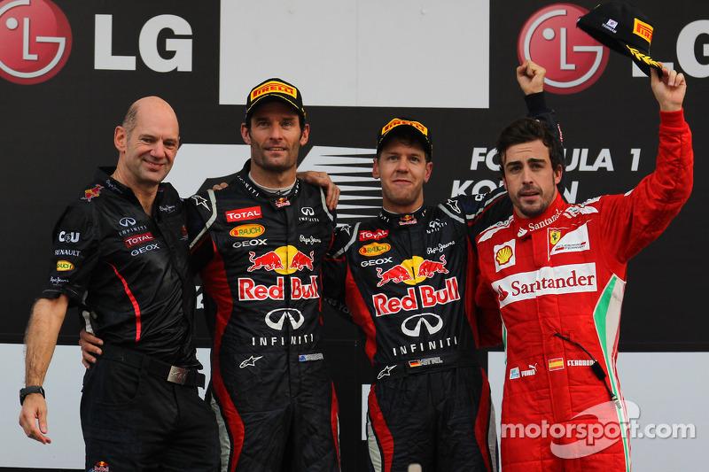 Adrian Newey, Red Bull Racing Chief Technical Officer with 1st place Sebastian Vettel, Red Bull Racing 2nd place Mark Webber, Red Bull Racing and 3rd place Fernando Alonso, Scuderia Ferrari