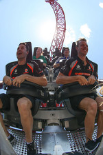 Jamie Whincup and Sbastien Bourdais ride the BuzzSaw roller coaster at Dreamworld