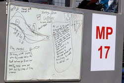 Marshals notes on a white board