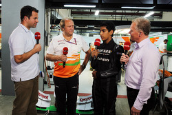 Ted Kravitz, Sky Sports Pitlane Reporter with Bob Fernley, Sahara Force India F1 Team Deputy Team Principal; Jehan Daruvala, One From A Billion Academy Driver and Johnny Herbert, Sky SPorts F1 Commentator