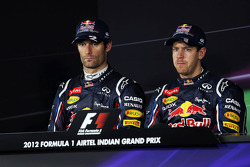 Mark Webber, Red Bull Racing and pole sitter Sebastian Vettel, Red Bull Racing in the FIA Press Conference
