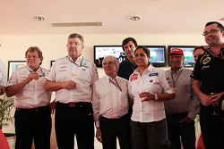Bernie Ecclestone, CEO Formula One Group, celebrates his 82nd birthday with team personnel, Mercedes Sporting Director; Ross Brawn, Mercedes AMG F1 Team Principal; Toto Wolff, Williams Chief Executive Officer; Monisha Kaltenborn, Sauber Team Principal; Ni