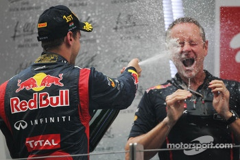 Race winner Sebastian Vettel, Red Bull Racing celebrates on the podium with Jonathan Wheatley, Red Bull Racing Team Manager