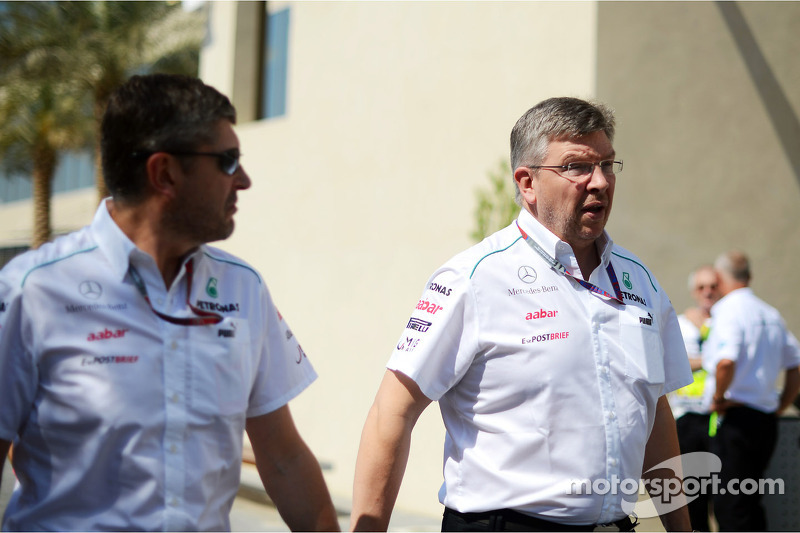 Nick Fry, Mercedes AMG F1 Chief Executive Officer with Ross Brawn, Mercedes AMG F1 Team Principal