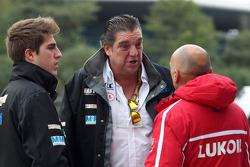 (L-R) Pepe Oriola, SEAT Leon WTCC, Tuenti Racing Team with his father and Gabriele Tarquini, SEAT Leon WTCC, Lukoil Racing Team