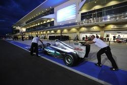 Mercedes AMG F1 team push the car to scrutineering