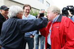 Bernie Ecclestone, CEO Formula One Group, with Christian Horner, Red Bull Racing Team Principal and Michael Tee