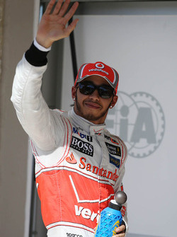 Lewis Hamilton, McLaren celebrates his second position in parc ferme