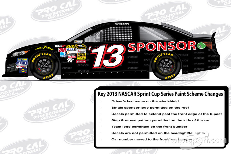 The official sponsor and decal placements for the 2013 Toyota Camry