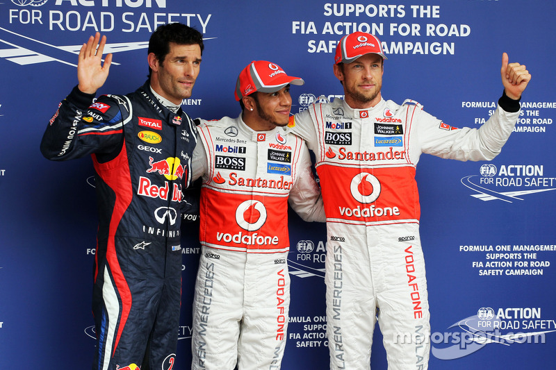 Pole winner Lewis Hamilton, second place Jenson Button, third place Mark Webber