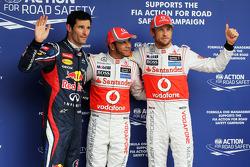 Pole winner Lewis Hamilton, second place Jenson Button, third place Mark Webber