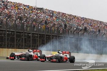 Jenson Button, McLaren and Lewis Hamilton, McLaren battle for position