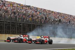 Jenson Button, McLaren and Lewis Hamilton, McLaren battle for position