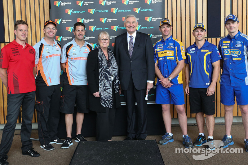 Ford and Holden drivers with NSW Minister George Souris and CEO of Destination NSW Sandra Chipchase