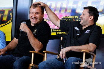 Tony Stewart and Ryan Newman during the newlywed game