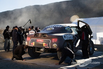 The Qatar Red Bull Rally Team at work