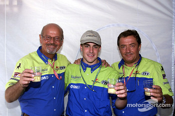 The Minardi-Fondmetal team celebrates 250 Grand Prix with a young Fernando Alonso