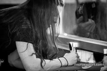 Danica Patrick, Stewart Haas Racing Chevrolet signs autographs