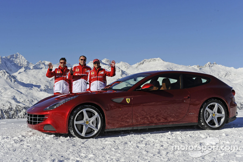 Fernando Alonso and Felipe Massa, Scuderia Ferrari with Stefano Domenicali
