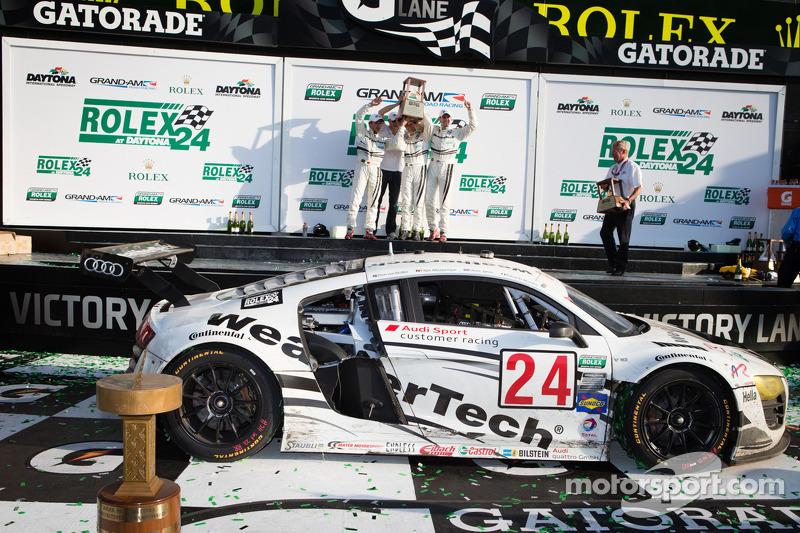 GT podium: class winners Filipe Albuquerque, Oliver Jarvis, Edoardo Mortara, Dion von Moltke