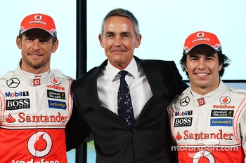 Jenson Button, McLaren with Martin Whitmarsh, McLaren Chief Executive Officer and Sergio Perez, McLaren