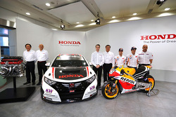 Tiago Monteiro with his Honda Civic, Marc Marquez and Dani Pedrosa, Repsol Honda MotoGP