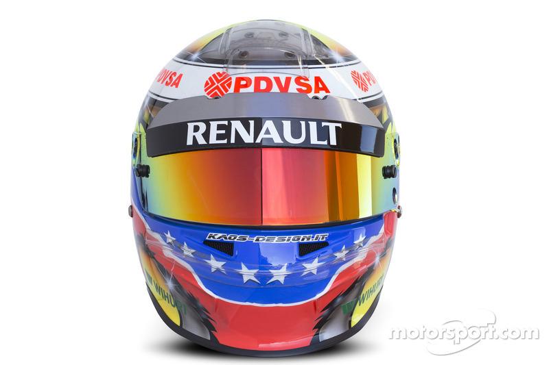 The helmet of Pastor Maldonado, Williams F1