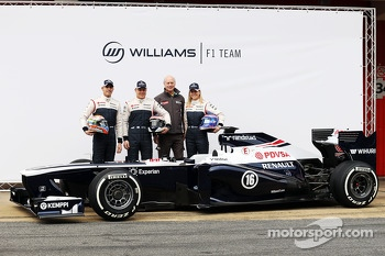 Pastor Maldonado, Williams F1, Valtteri Bottas, Williams F1 Jean-Michel Jalinier, Renault President and Susie Wolff, Williams F1 development driver unveil the FW35