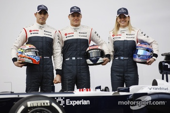 Pastor Maldonado, Williams with team mate Valtteri Bottas, Williams and Susie Wolff, Williams Development Driver