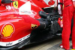 Scuderia Ferrari F138 running sensor equipment at the exhand rear suspension