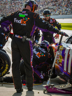 Denny Hamlin, Joe Gibbs Racing Toyota in the pits with damage