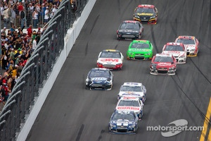 Jimmie Johnson, Hendrick Motorsports Chevrolet leads Dale Earnhardt Jr., Hendrick Motorsports Chevrolet approaching the checkered flag