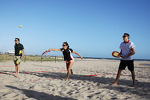 Giedo van der Garde, Caterham F1 Team; Natalie Pinkham, Sky Sports Presenter and Max Chilton, Marussia F1 Team play beach tennis