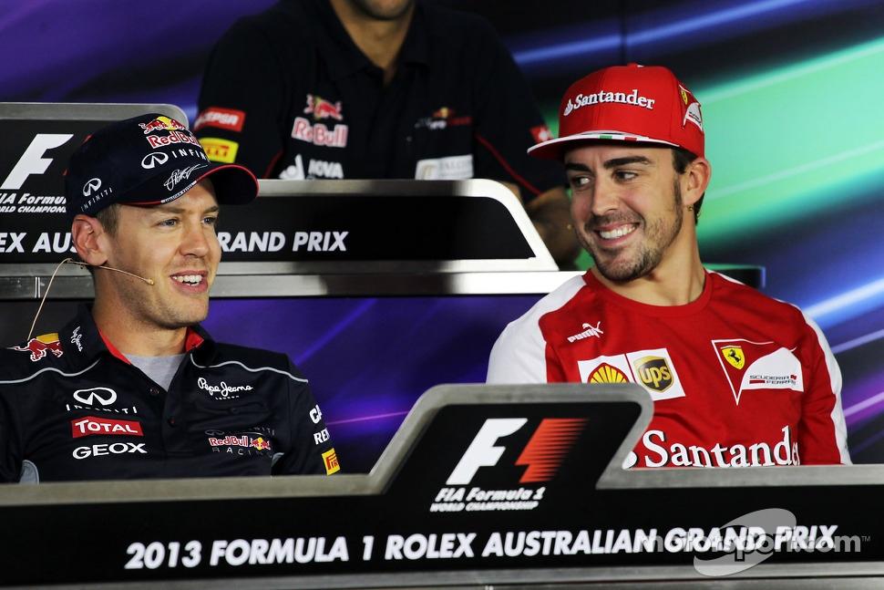 Sebastian Vettel, Red Bull Racing and Fernando Alonso, Ferrari in the FIA Press Conference