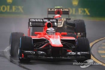 Jules Bianchi, Marussia F1 Team MR02 leads Romain Grosjean, Lotus F1 E21