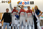 Class winners podium: P1 and overall winners Oliver Jarvis, Marcel Fssler, Benoit Trluyer celebrate